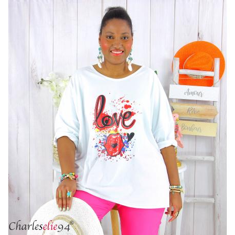 T shirt femme grande taille imprimé street KISS blanc Tee shirt tunique femme grande taille