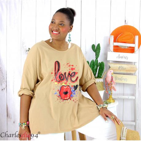 T shirt femme grande taille imprimé street KISS camel Tee shirt tunique femme grande taille