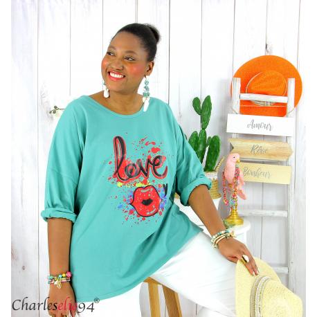 T shirt femme grande taille imprimé street KISS amande Tee shirt tunique femme grande taille