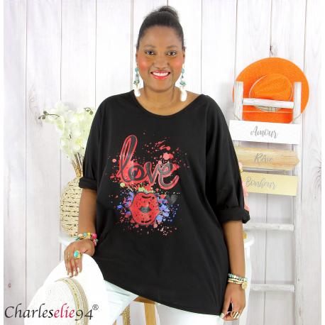 T shirt femme grande taille imprimé street KISS noir Tee shirt tunique femme grande taille