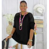 Pull fin tunique dentelle femme grande taille CORINA noir Pull femme grande taille