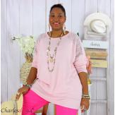 Pull fin tunique dentelle femme grande taille CORINA rose Pull femme grande taille