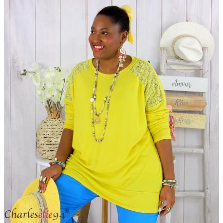 Pull fin tunique dentelle femme grande taille CORINA jaune Pull femme grande taille