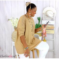 Pull fin tunique dentelle femme grande taille CORINA camel Pull femme grande taille