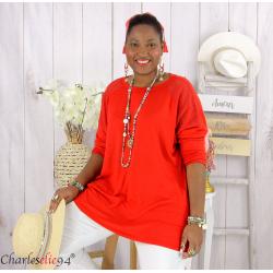 Pull fin tunique dentelle femme grande taille CORINA rouge Pull femme grande taille