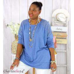 Pull fin tunique dentelle femme grande taille CORINA bleu jean Pull femme grande taille