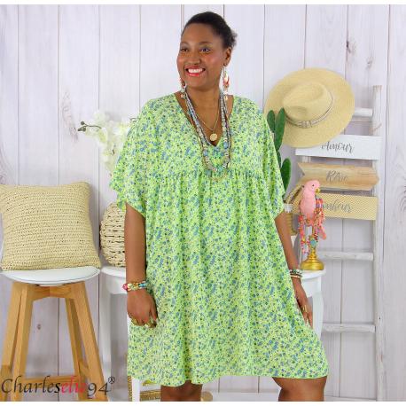 Robe tunique été liberty grande taille EUGENIA vert Robe tunique femme grande taille