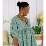 Robe tunique été liberty grande taille EUGENIA kaki Robe tunique femme grande taille