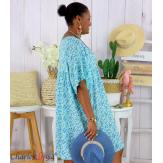 Robe tunique été liberty grande taille EUGENIA bleu ciel Robe tunique femme grande taille