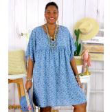 Robe tunique été liberty grande taille EUGENIA bleu jean Robe tunique femme grande taille
