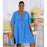 Robe tunique été liberty grande taille EUGENIA bleu royal Robe tunique femme grande taille