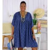 Robe tunique été liberty grande taille EUGENIA bleu marine Robe tunique femme grande taille