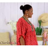 Robe tunique été liberty grande taille EUGENIA rouge Robe tunique femme grande taille