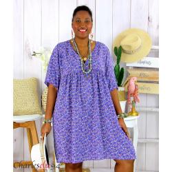 Robe tunique été liberty grande taille EUGENIA violet Robe tunique femme grande taille