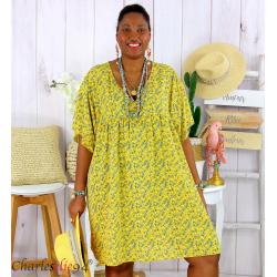 Robe tunique été liberty grande taille EUGENIA jaune Robe tunique femme grande taille