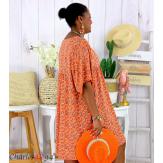 Robe tunique été liberty grande taille EUGENIA orange Robe tunique femme grande taille