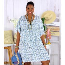 Robe tunique été liberty grande taille EUGENIA blanche Robe tunique femme grande taille