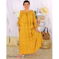 Robe longue été liberty femme grande taille MARLON jaune Robe longue grande taille