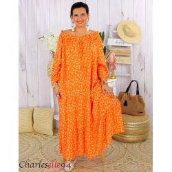 Robe longue été liberty femme grande taille MARLON orange Robe longue grande taille