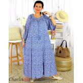 Robe longue été liberty femme grande taille MARLON bleu jean Robe longue grande taille