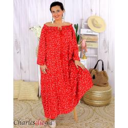 Robe longue été liberty femme grande taille MARLON rouge Robe longue grande taille