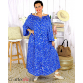 Robe longue été liberty femme grande taille MARLON bleu royal Robe longue grande taille