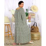 Robe longue été liberty femme grande taille MARLON kaki Robe longue grande taille