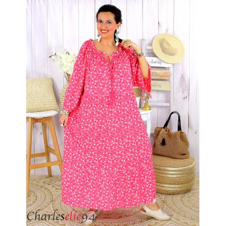 Robe longue été liberty femme grande taille MARLON fushia Robe longue grande taille