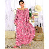 Robe longue été liberty femme grande taille MARLON rose Robe longue grande taille
