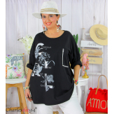 T-shirt manches longues femme grande taille COOL noir Tee shirt tunique femme grande taille