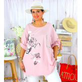 T-shirt manches longues femme grande taille COOL rose Tee shirt tunique femme grande taille