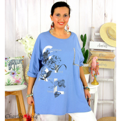 T-shirt manches longues femme grande taille COOL bleu jean Tee shirt tunique femme grande taille