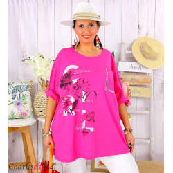 T-shirt manches longues femme grande taille COOL fuchsia Tee shirt tunique femme grande taille