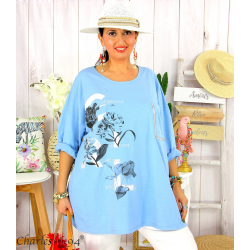T-shirt manches longues femme grande taille COOL ciel Tee shirt tunique femme grande taille