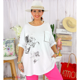 T-shirt manches longues femme grande taille COOL blanc Tee shirt tunique femme grande taille