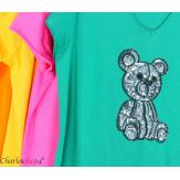 T-shirt coton brodé sequins grande taille été TEDDY fuchsia Tee shirt femme