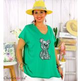 T-shirt coton brodé sequins grande taille été TEDDY vert Tee shirt femme