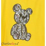 T-shirt coton brodé sequins grande taille été TEDDY jaune Tee shirt femme