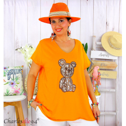 T-shirt coton brodé sequins grande taille été TEDDY orange Tee shirt femme