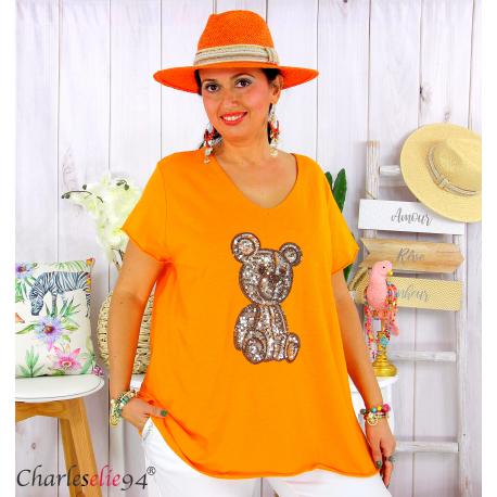 T-shirt coton brodé sequins grande taille été TEDDY orange Tee shirt femme