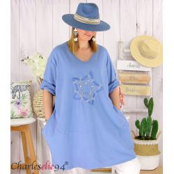 Sweat-shirt long femme grande taille brodé YVONNE bleu jean Tunique longue femme
