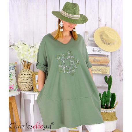 Sweat-shirt long femme grande taille brodé YVONNE kaki Tunique longue femme