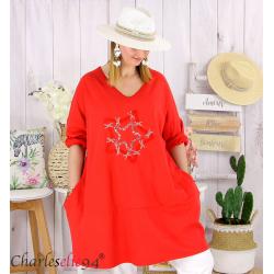Sweat-shirt long femme grande taille brodé YVONNE rouge Tunique longue femme