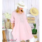 Sweat-shirt long femme grande taille brodé YVONNE rose Tunique longue femme