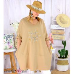 Sweat-shirt long femme grande taille brodé YVONNE camel Tunique longue femme