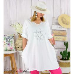 Sweat-shirt long femme grande taille brodé YVONNE blanc Tunique longue femme