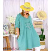 Sweat-shirt long femme grande taille brodé YVONNE amande Tunique longue femme