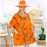 Tunique été coton lin femme grande taille MUSIK orange Tunique femme grande taille