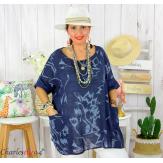 Tunique été coton lin femme grande taille MUSIK bleu marine Tunique femme grande taille
