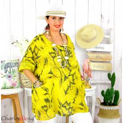 Tunique été coton lin femme grande taille MUSIK jaune Tunique femme grande taille